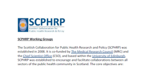 SCPHRP working group remit