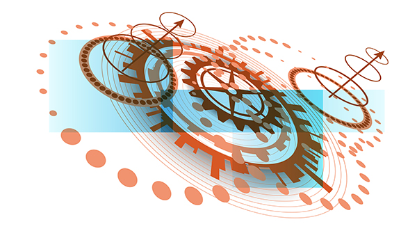 Abstract modern background with different circular technological elements